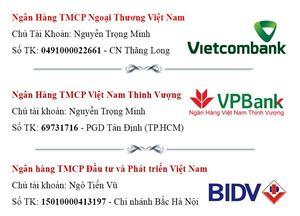 Thông tin tài khoản ngân hàng của Hồng sâm Kgin